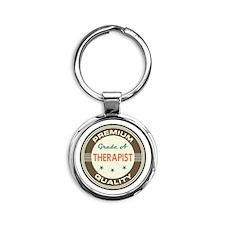 Therapist Vintage Round Keychain