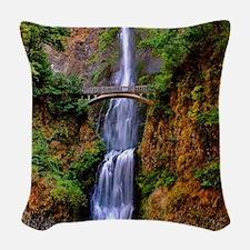 Multnomah Falls Woven Throw Pillow