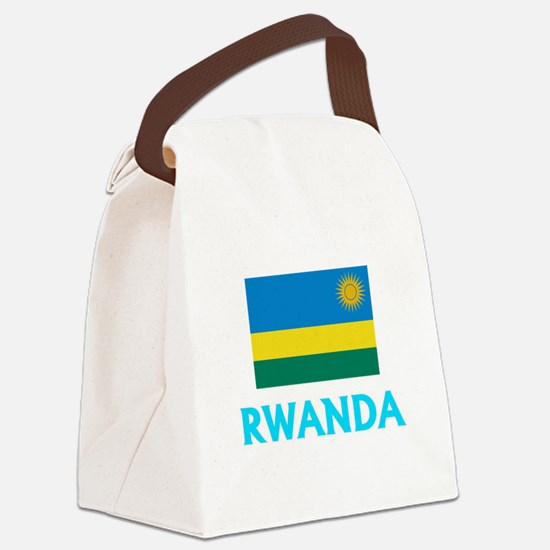 Rwanda Flag Classic Blue Design Canvas Lunch Bag