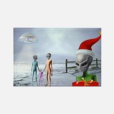 Alien Family Holiday Rectangle Magnet