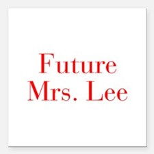 """Future Mrs Lee-bod red Square Car Magnet 3"""" x 3"""""""