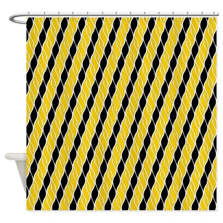 golden yellow and black shower curtain by totallyfabulous. Black Bedroom Furniture Sets. Home Design Ideas