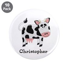"""Cow Just Add Name 3.5"""" Button (10 pack)"""