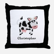 Cow Just Add Name Throw Pillow