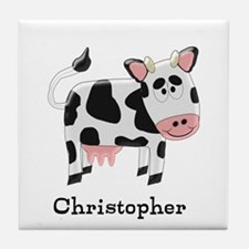 Cow Just Add Name Tile Coaster