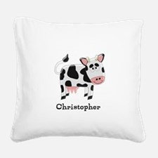 Cow Just Add Name Square Canvas Pillow