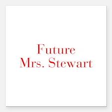 "Future Mrs Stewart-bod red Square Car Magnet 3"" x"