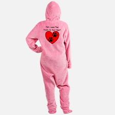 Paw Print Heart Footed Pajamas