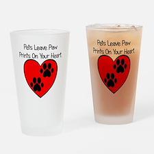 Paw Print Heart Drinking Glass