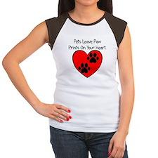 Paw Print Heart Women's Cap Sleeve T-Shirt