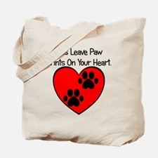 Paw Print Heart Tote Bag