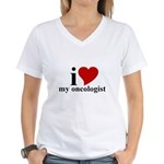 iHeart My Oncologist Women's V-Neck T-Shirt