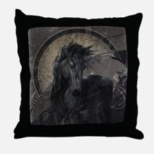 Gothic Friesian Horse Throw Pillow