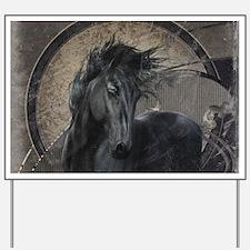 Gothic Friesian Horse Yard Sign