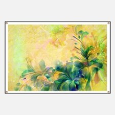 Yellow And Blue-green Abstract Floral Desig Banner