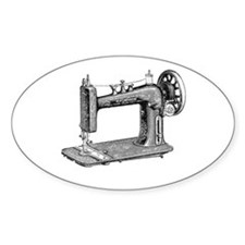 Vintage Sewing Machine Oval Decal