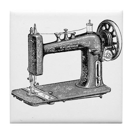 Vintage Sewing Machine Tile Coaster