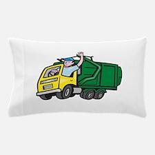 Garbage Truck Driver Waving Cartoon Pillow Case