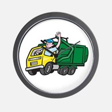 Garbage Truck Driver Waving Cartoon Wall Clock