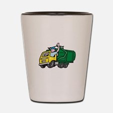 Garbage Truck Driver Waving Cartoon Shot Glass