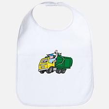 Garbage Truck Driver Waving Cartoon Bib