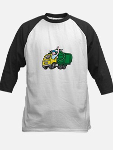 Garbage Truck Driver Waving Cartoon Baseball Jerse