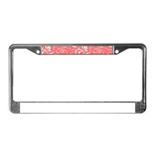 Coral Red And White Vintage Fl License Plate Frame