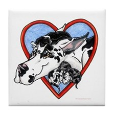 Harlequin Gt Dane Mom & pups Tile Coaster