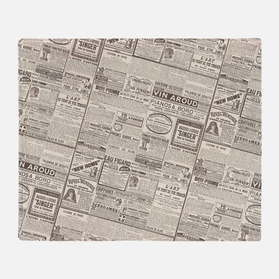 Antique French Woman's Newspaper Ads Throw Blanket