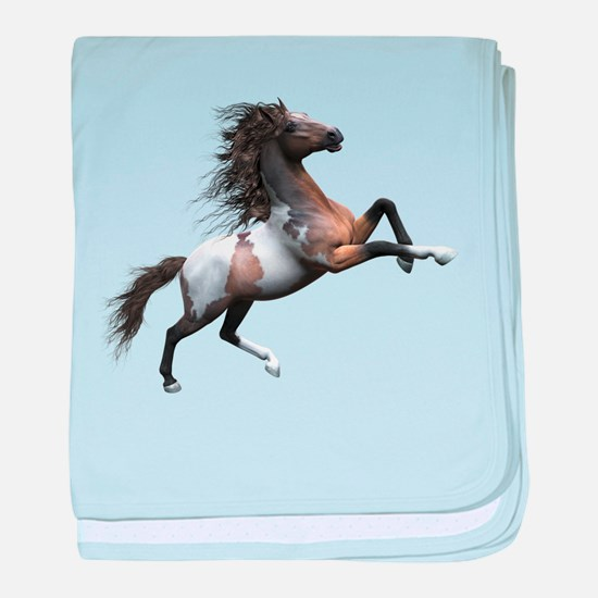 Mustang Horse In The Snow baby blanket