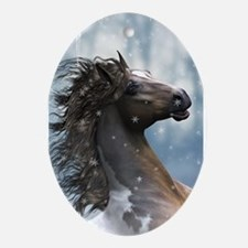 Mustang Horse In The Snow Ornament (Oval)