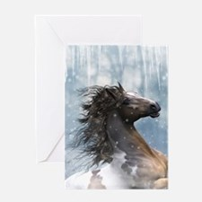 Mustang Horse In The Snow Greeting Cards