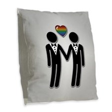 Mr & Mr Rainbow Grooms Burlap Throw Pillow