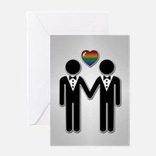 Silhouette Groom and Groom - Tall Greeting Card
