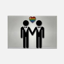 Silhouette Groom and Groom - Tall Rectangle Magnet