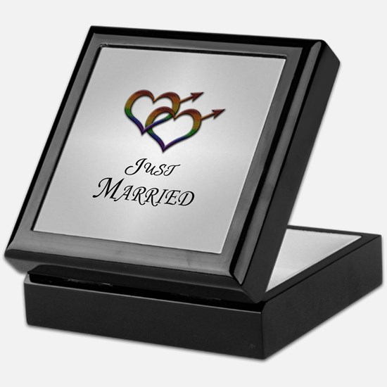 Just Married Gay Pride Keepsake Box