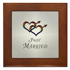 Just Married Gay Pride Framed Tile