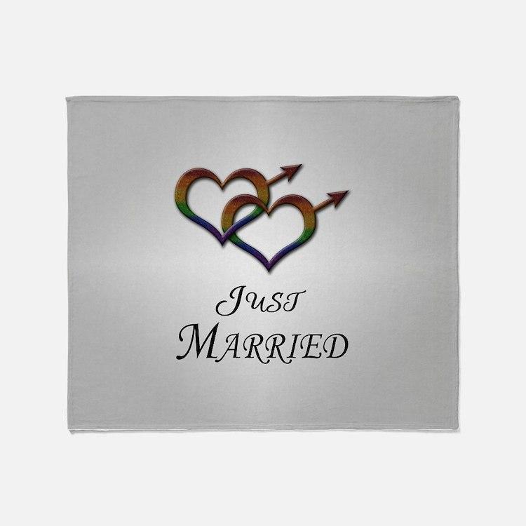 Just Married Gay Pride Throw Blanket
