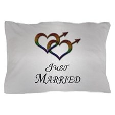 Just Married Gay Pride Pillow Case