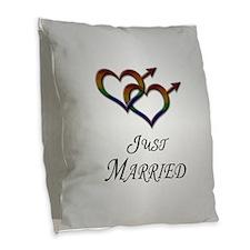 Just Married Gay Pride Burlap Throw Pillow