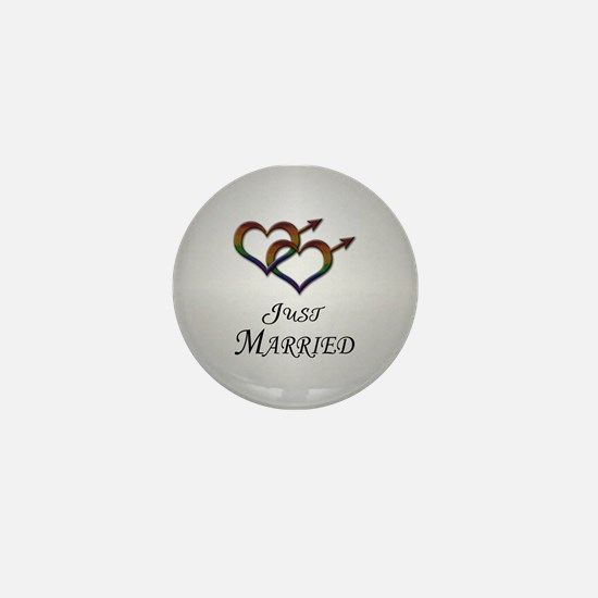 Just Married Gay Pride Mini Button