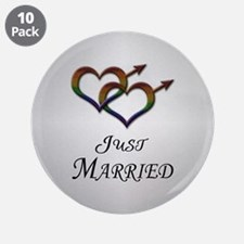 "Just Married Gay Pride 3.5"" Button (10 pack)"
