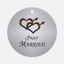 Just Married Gay Pride Ornament (Round)