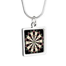 Dart Board Art Decor Silver Square Necklace