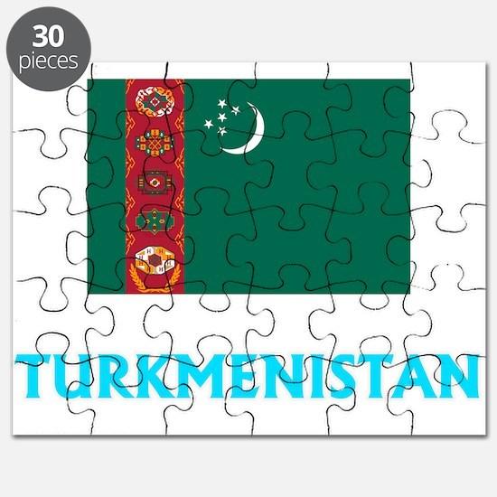 Turkmenistan Flag Classic Blue Design Puzzle