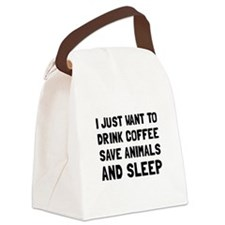 Coffee Animals Sleep Canvas Lunch Bag