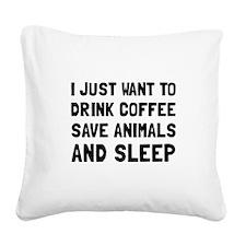 Coffee Animals Sleep Square Canvas Pillow