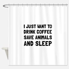 Coffee Animals Sleep Shower Curtain