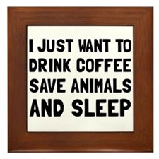 Coffee Animals Sleep Framed Tile
