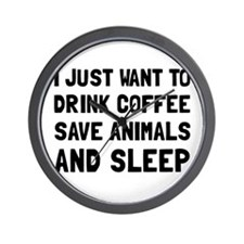 Coffee Animals Sleep Wall Clock